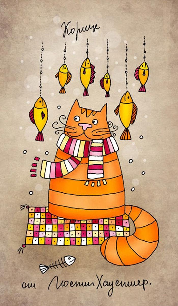 Прикольные рисунки котов графика, кленовый лист