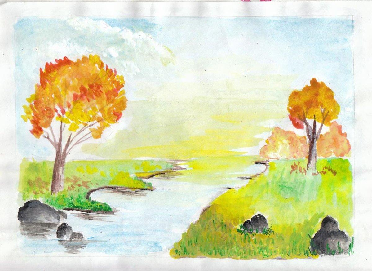 Утро, золотая осень картинка срисовать
