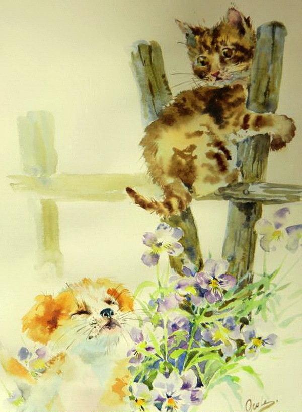 Котята акварель картинки