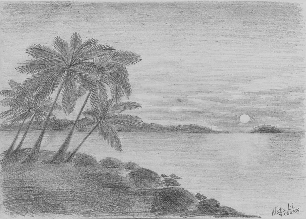 Картинки с пляжем карандашом