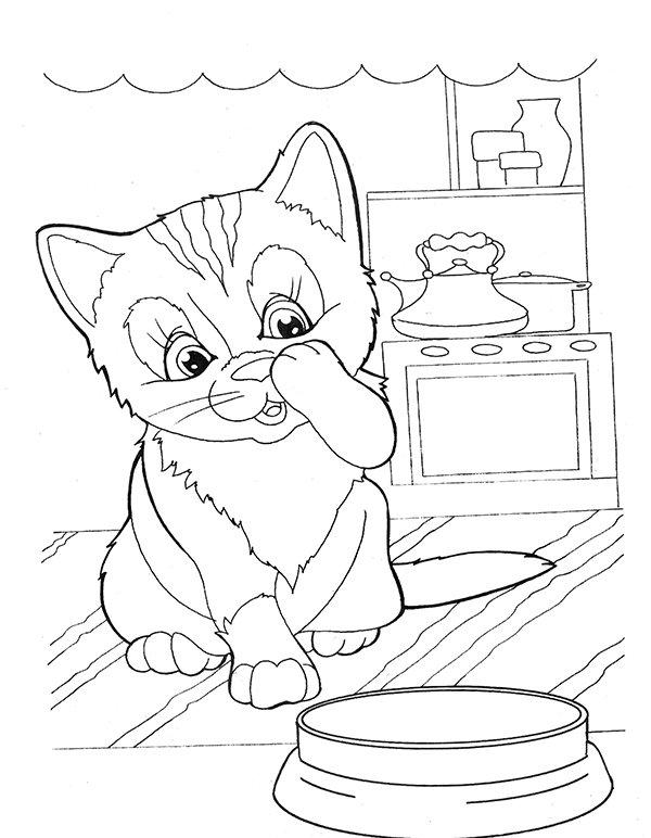 «Раскраска котенок умывается, распечатать а4 - Раскраски и ...