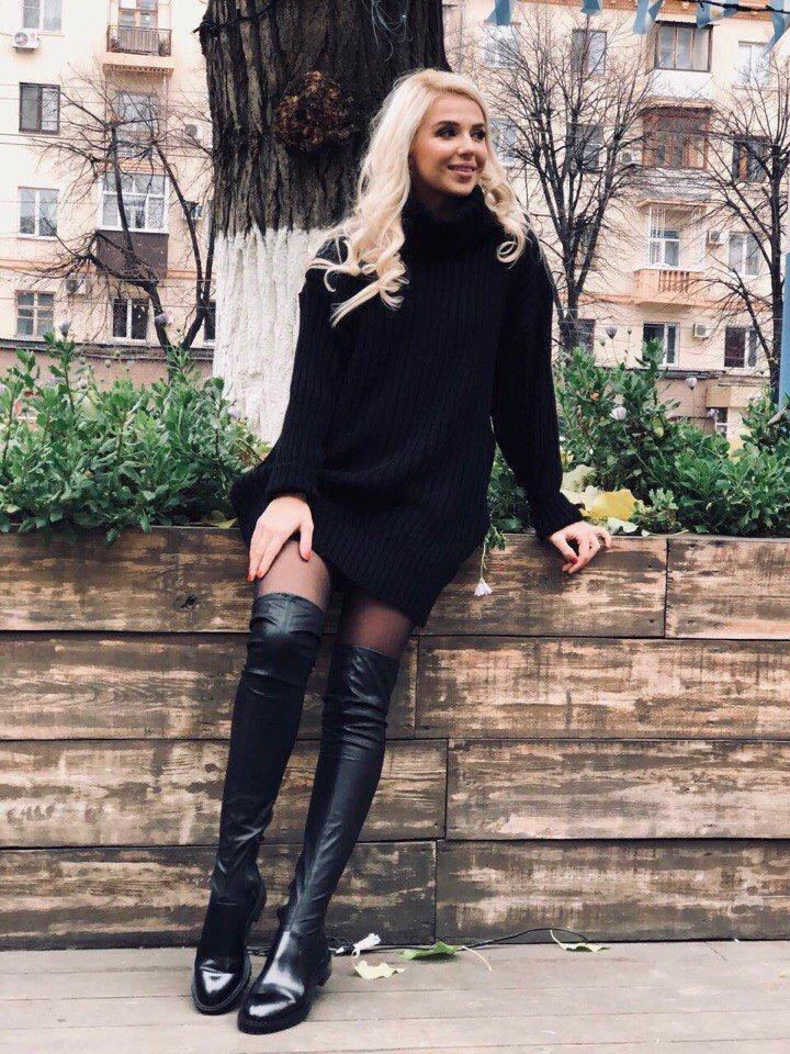 ніколи зграями черное платье с сапогами фото своей