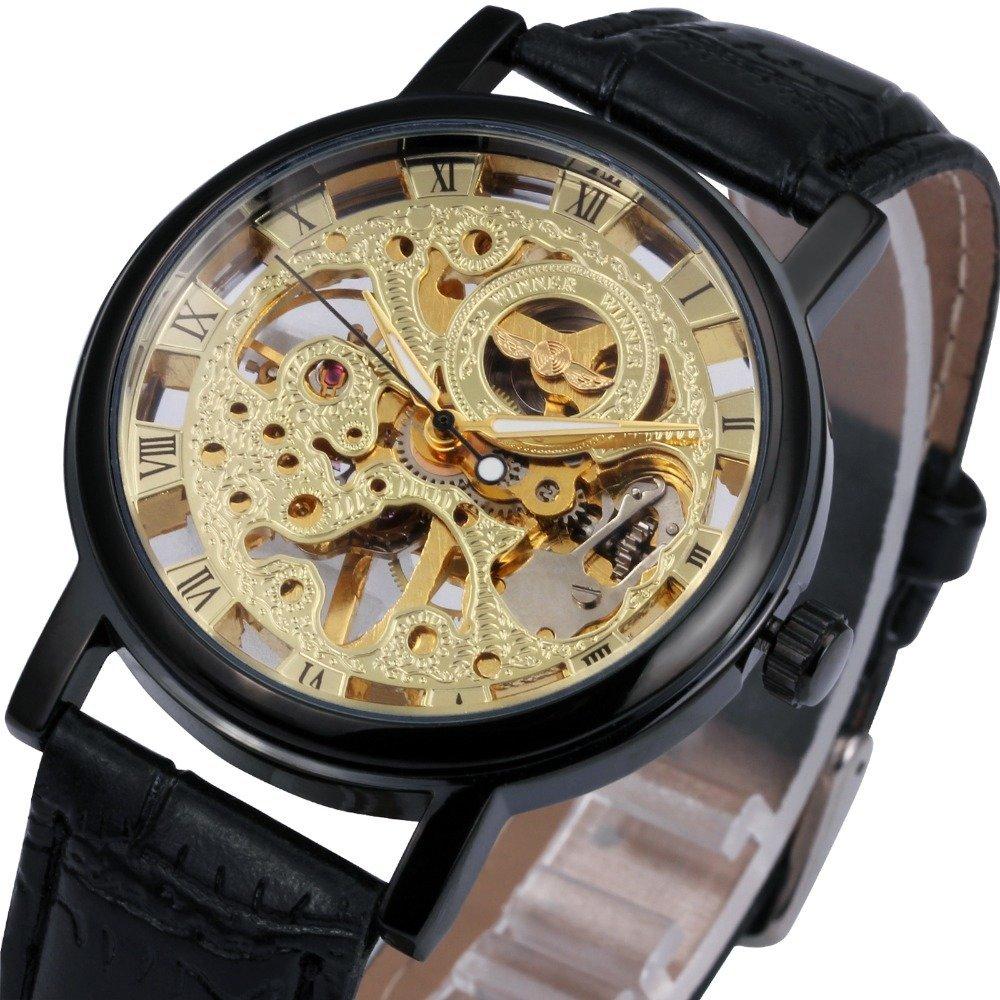 Мужские стильные часы скелетоны на ремешке коричневого цвета, серия winner professional.