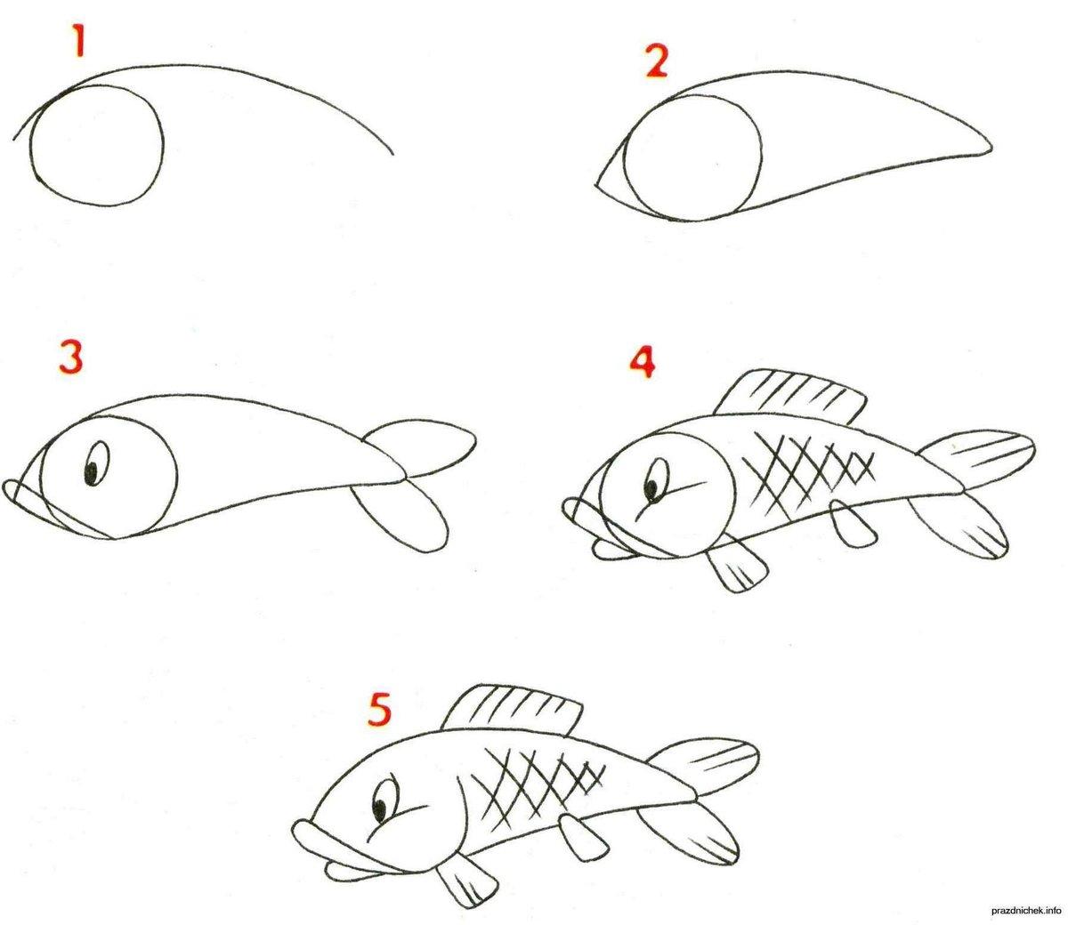 рисунок по схеме карандашом