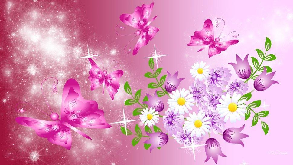 Открытки блестки цветы