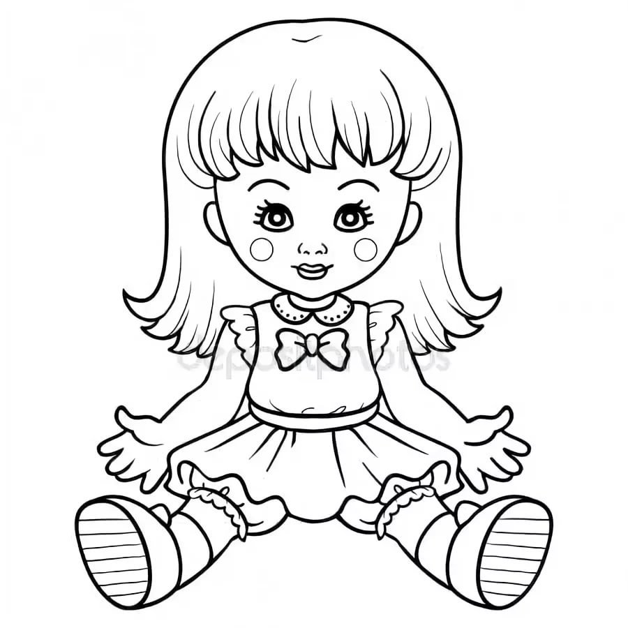 Картинка карандашом для детей кукла
