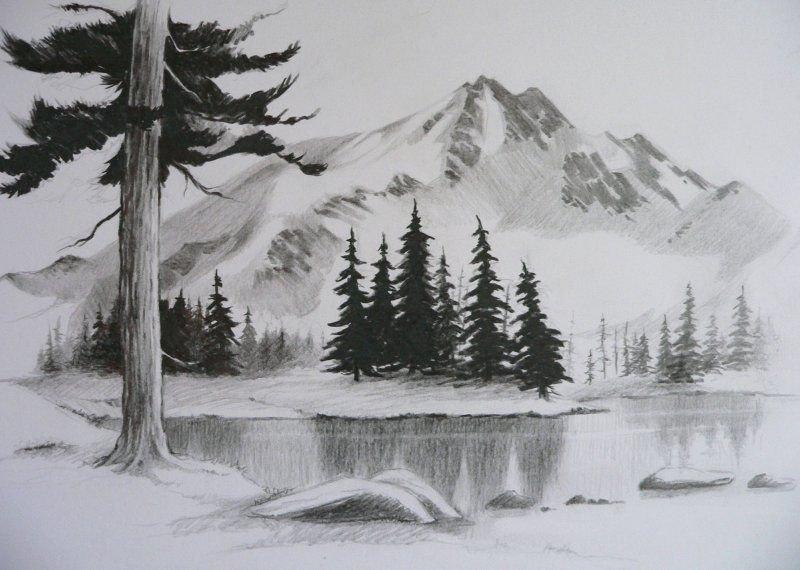 Картинки пейзаж для срисовки простым карандашом