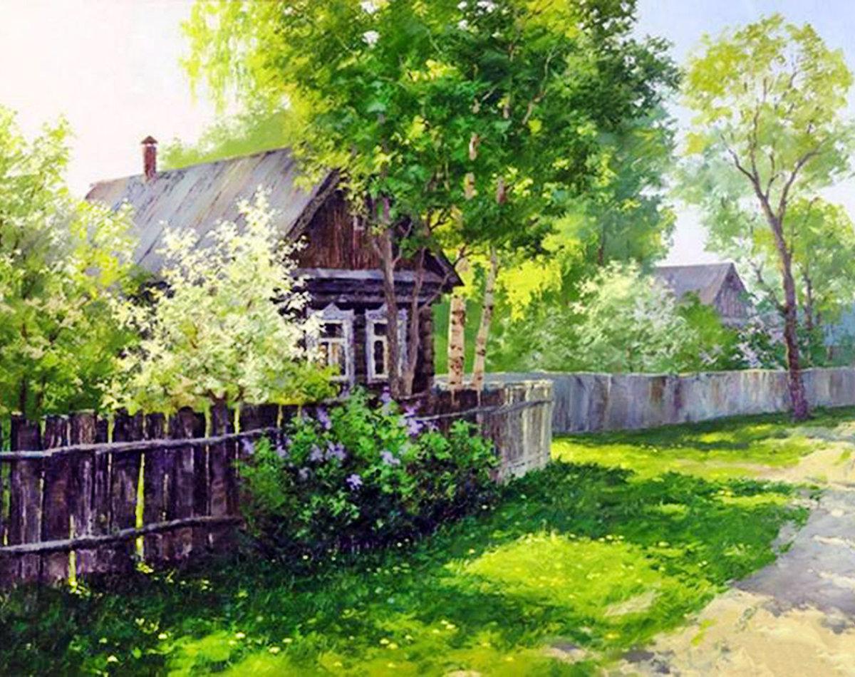 Картинки утро в деревне весна