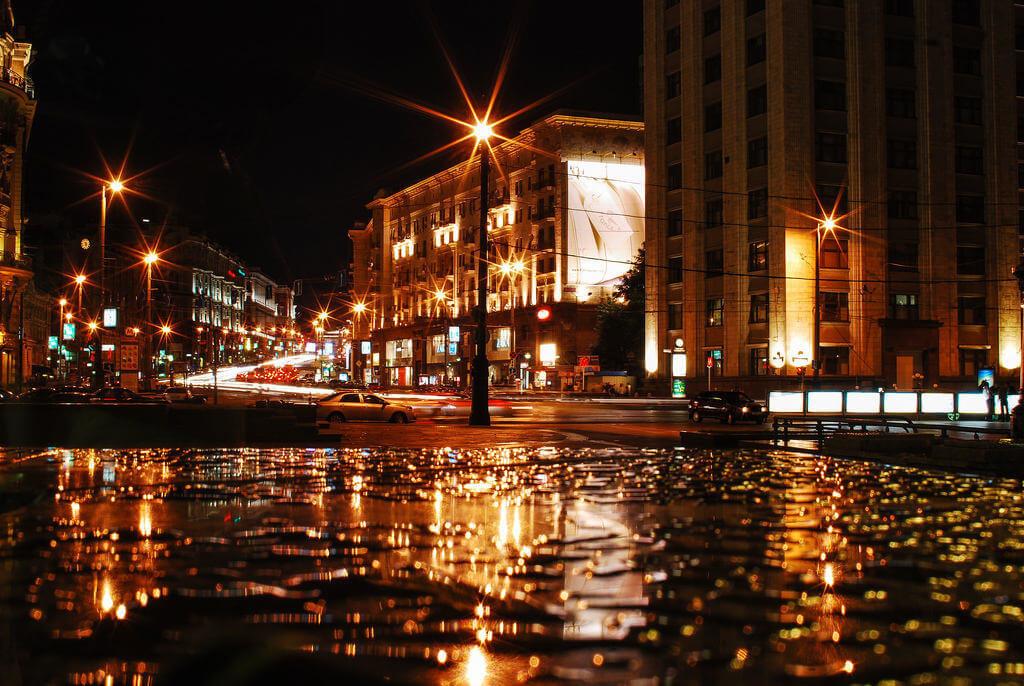 Фото ночных улиц москвы