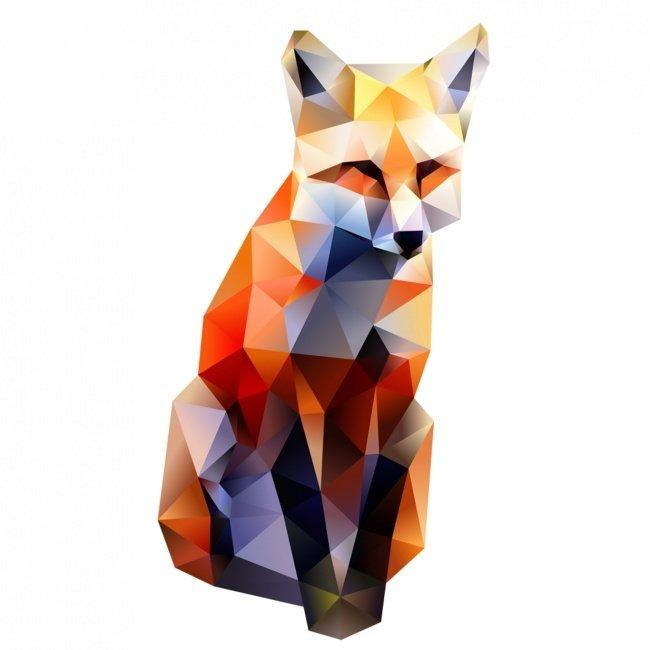 модель лиса из треугольников рисунок этом