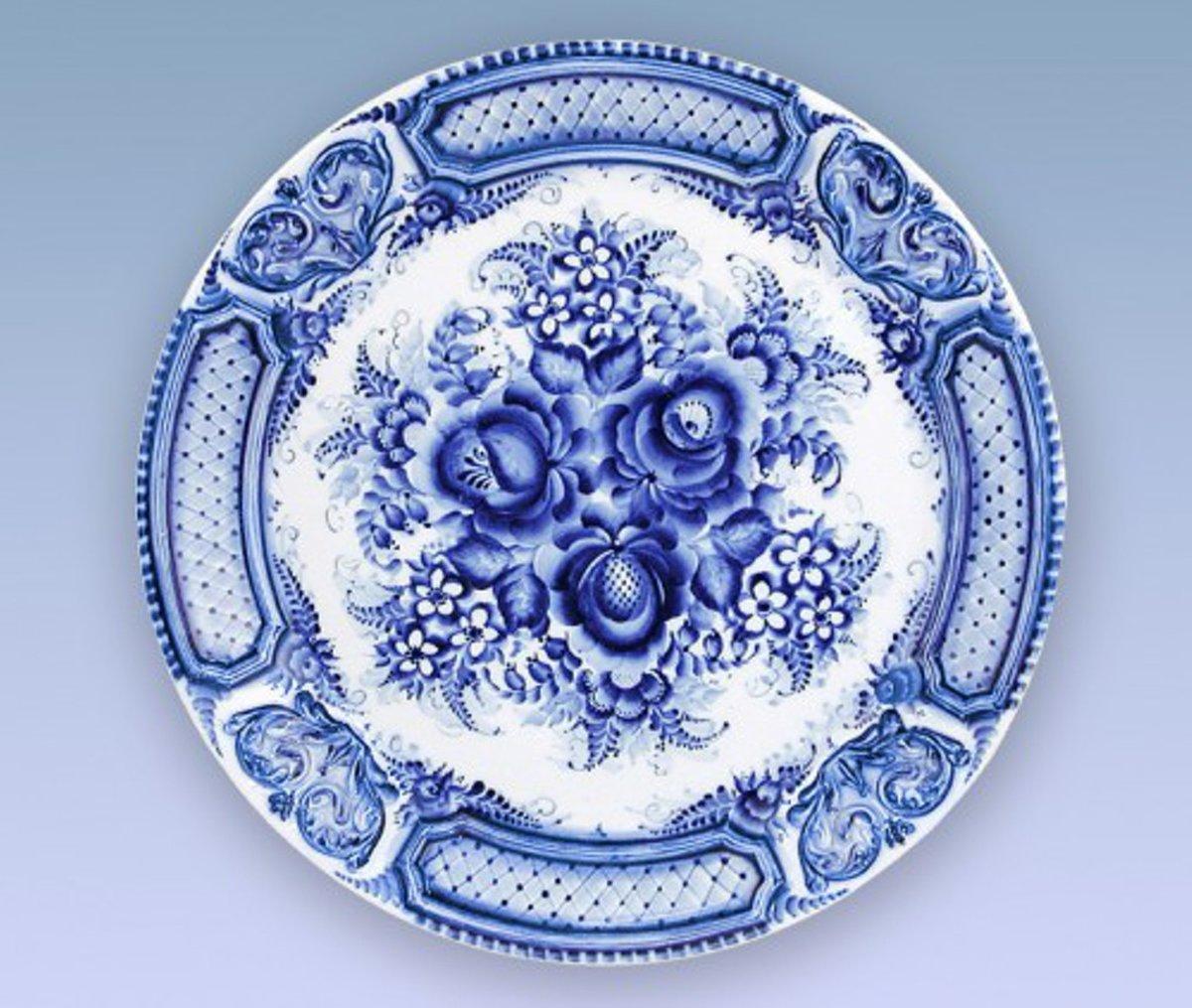 Узоры на посуде картинки гжель