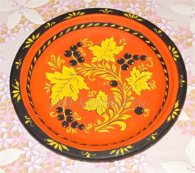 Сделать открытку, картинки хохломская роспись тарелки