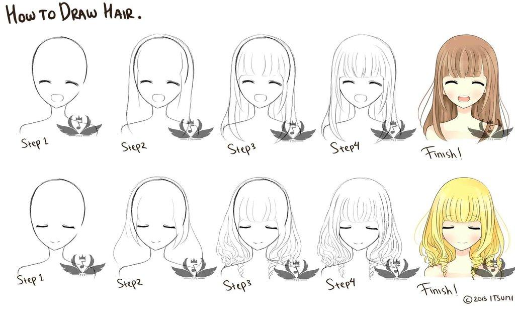 Mini Tutorial How To Draw Female Manga Anime Hair Youtube Card