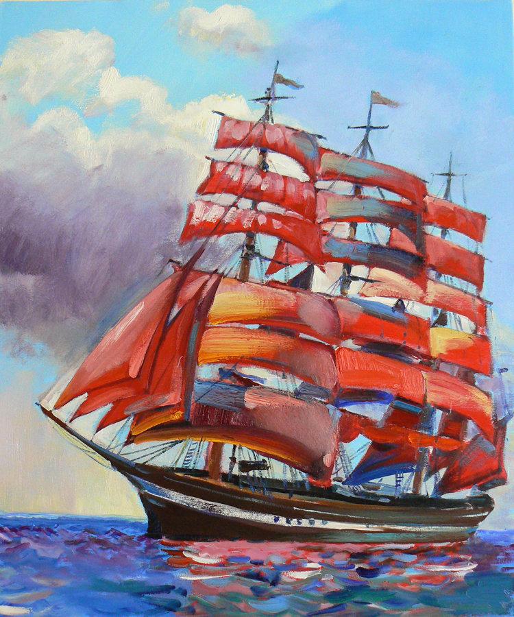 Картинка алые паруса корабль нарисованный