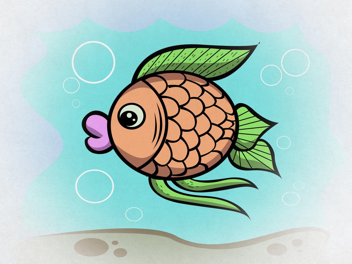 Открытках, рыбки картинки для детей нарисованные