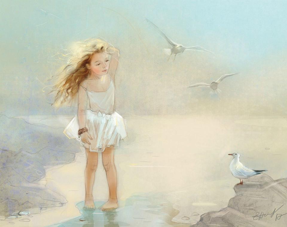 Открыток юбилею, девочки на море открытки