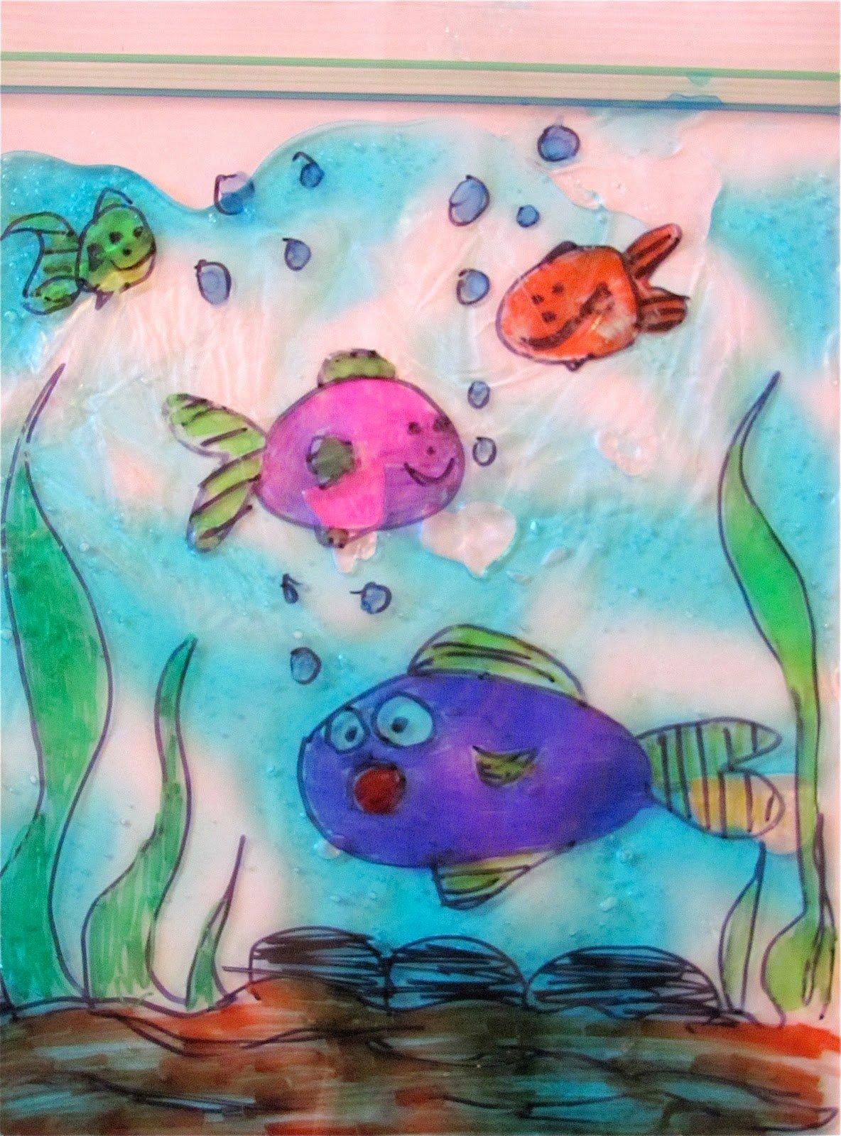 рисунок рыб в аквариуме красками разницу между