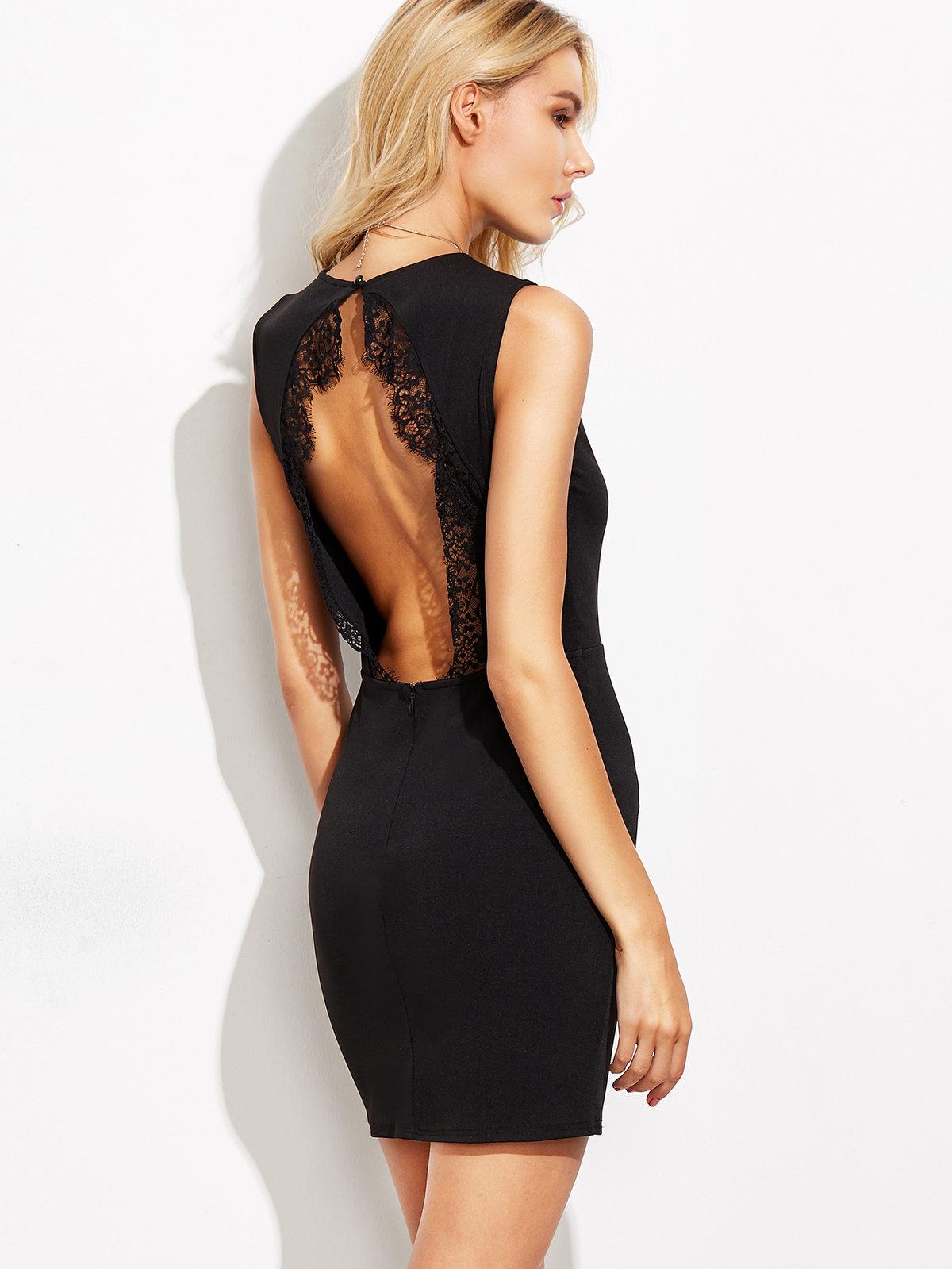 Фото короткое черное платье с открытой спиной нас как