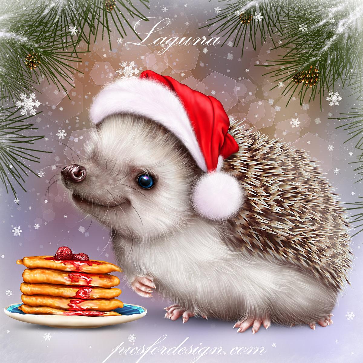 Картинка ежик новогодний