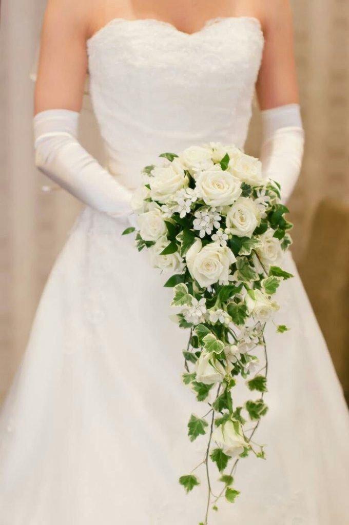 Длинные букеты невесты, букета орхидей