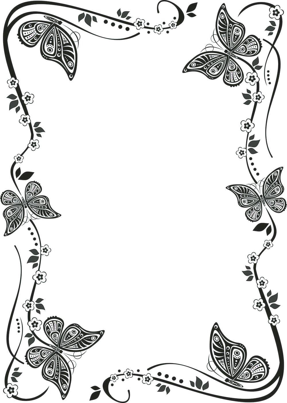 Девушки, рамки черно-белые поздравительной открытки