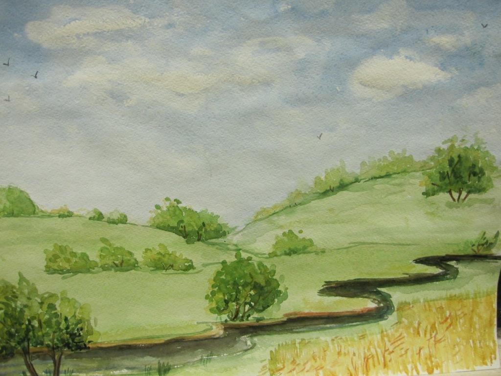 летний пейзаж рисунки