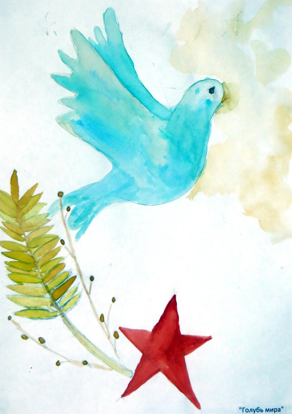 Рисунки голуби мира