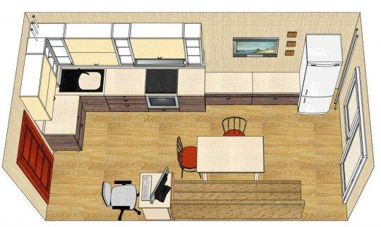 Как расположить мебель в прямоугольной кухне фото