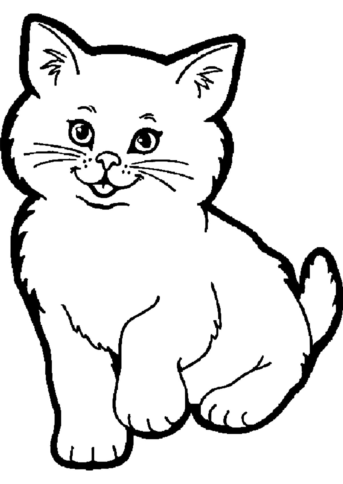 Черно белые картинки кошки для распечатки