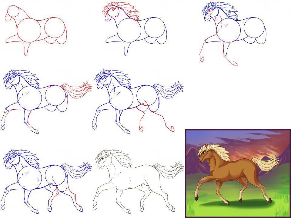 Рисунки коней карандашом легко и красиво поэтапно пришлось поработать
