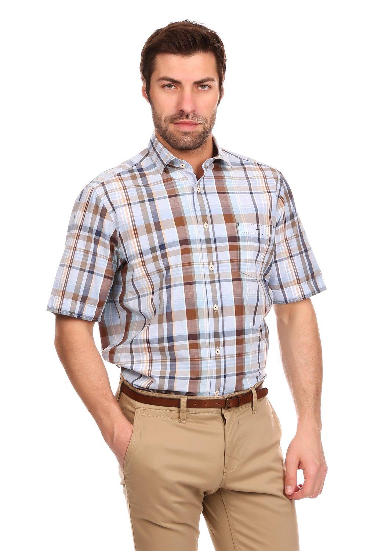 3a4830f6010 Мужская рубашка в клетку с коротким рукавом Casa Moda в коричневых тонах.