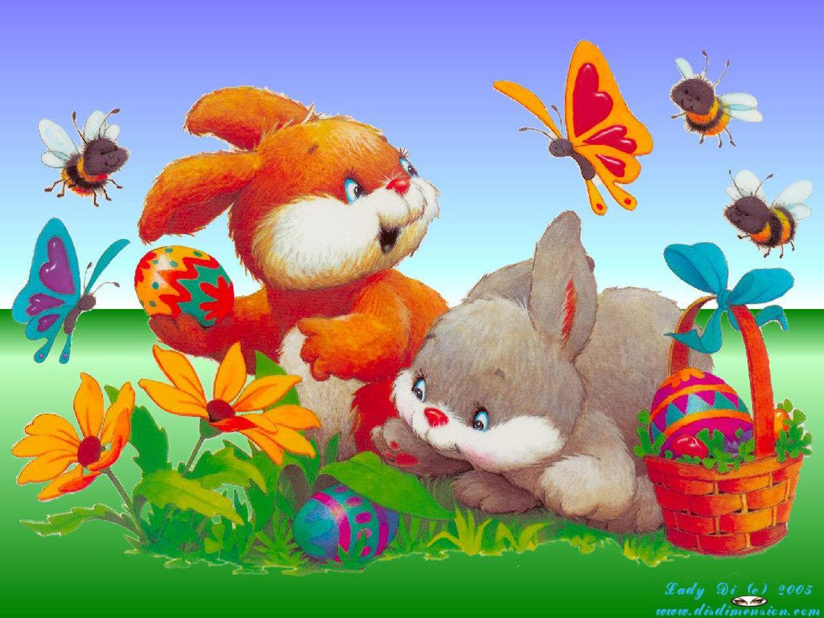 Детские открытки зайчики