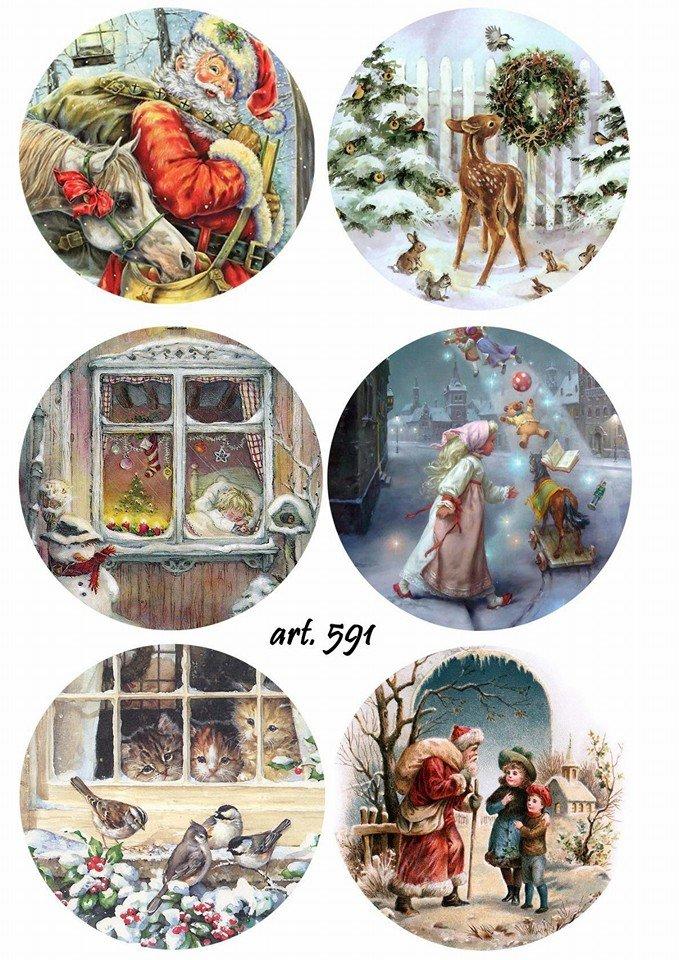 Картинки новогодние круглые разные на одном листе