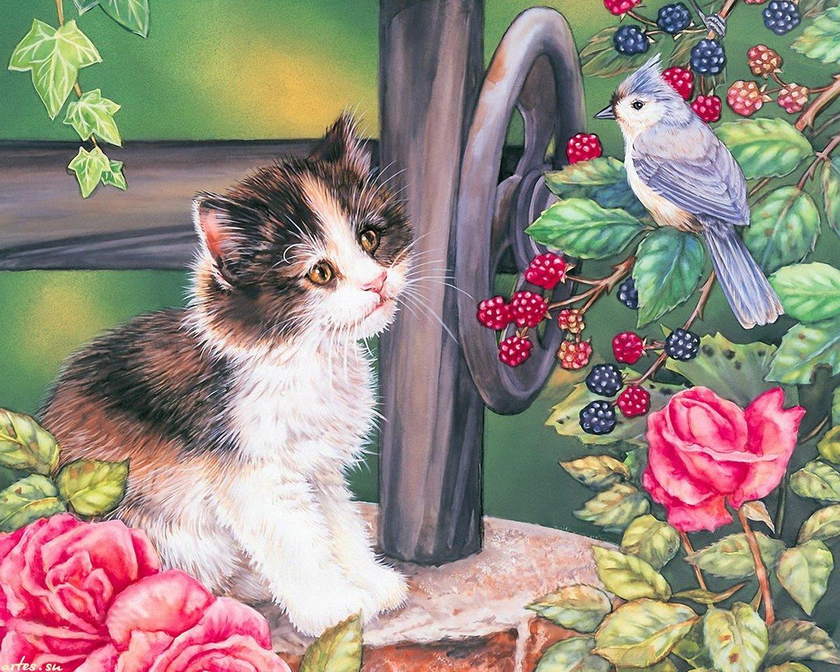 Картинка кошка и птичка для детей