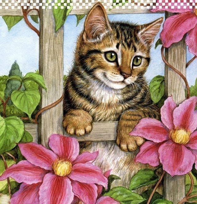 Картинки котики с цветами мультяшные