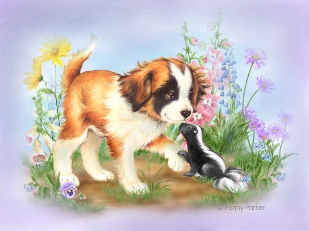 пары картинка щенок с мамой сказочная электронных
