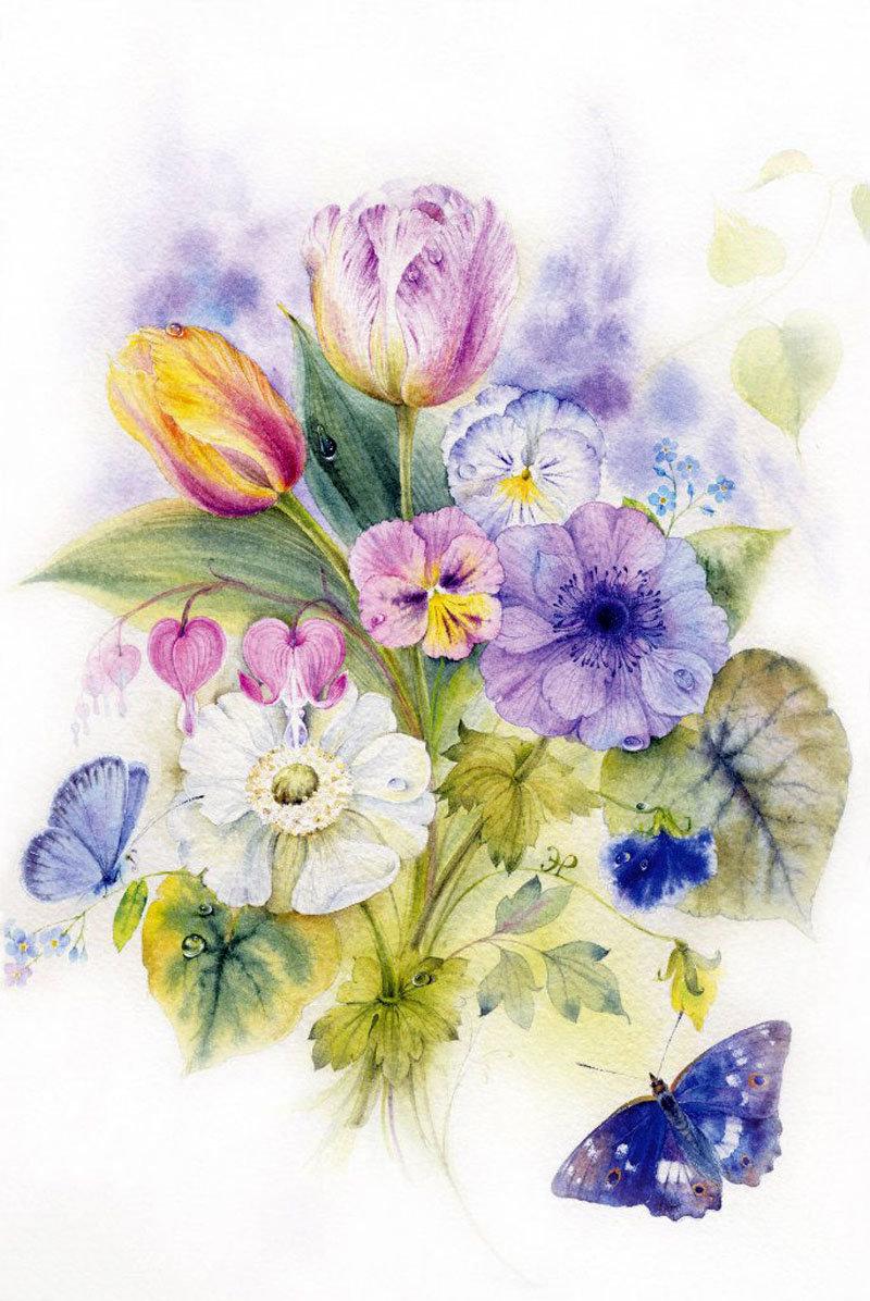 Цветы акварель открытка