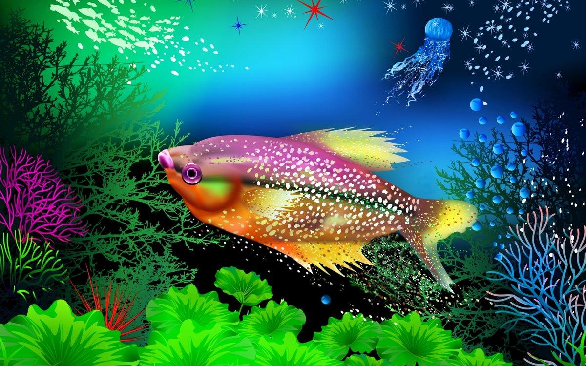 движущаяся картинка с рыбками на телефон пасхального крестного