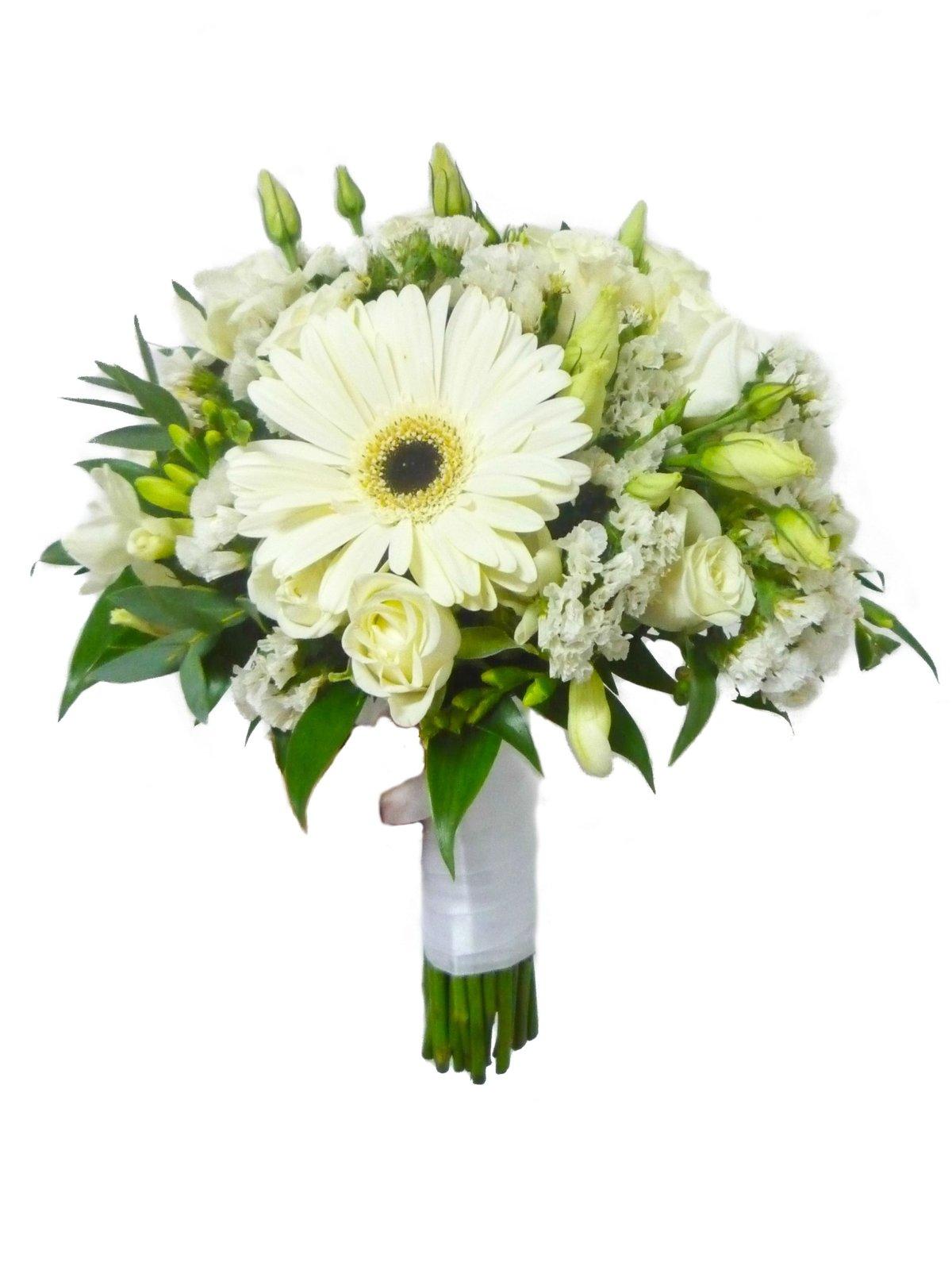 Букет из герберов белых и желтых роз, цветы киеве