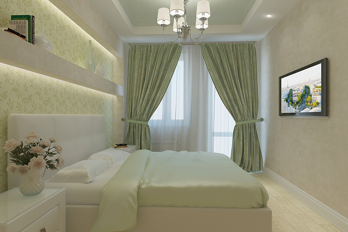 фото спальня фисташковая