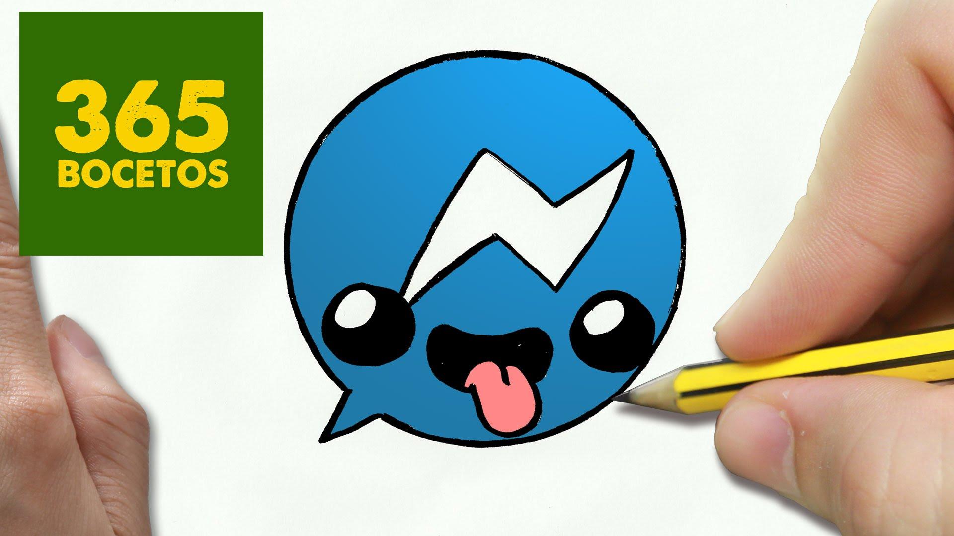Como Dibujar Logo Messenger Kawaii Paso A Paso Dibujos Kaw Card