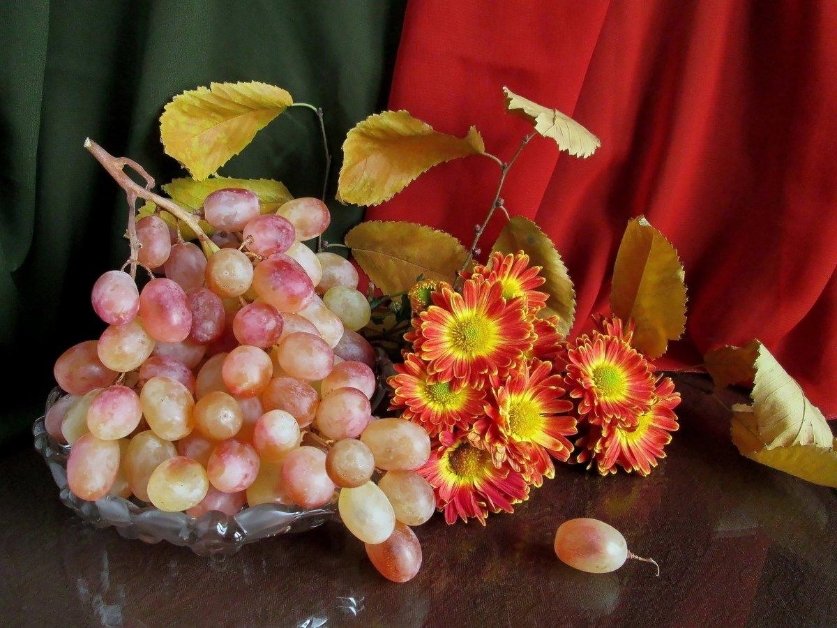 Открытка доброе утро осень виноград, открытка бабушка