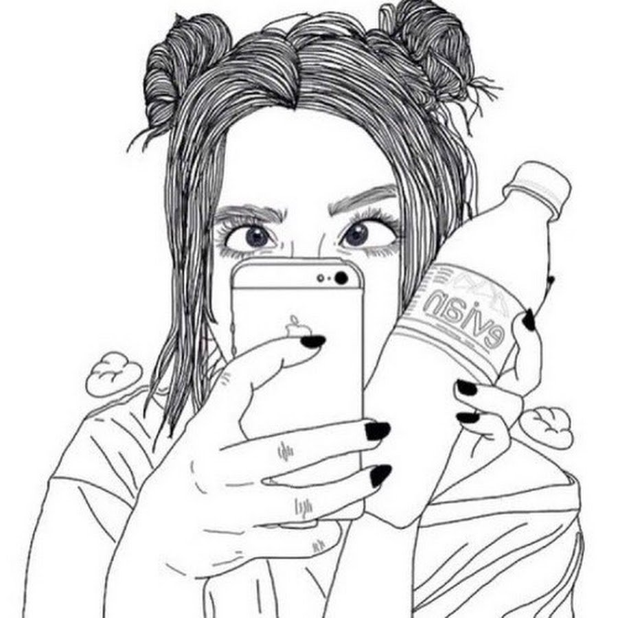 Прикольные картинки для девочек черно белые