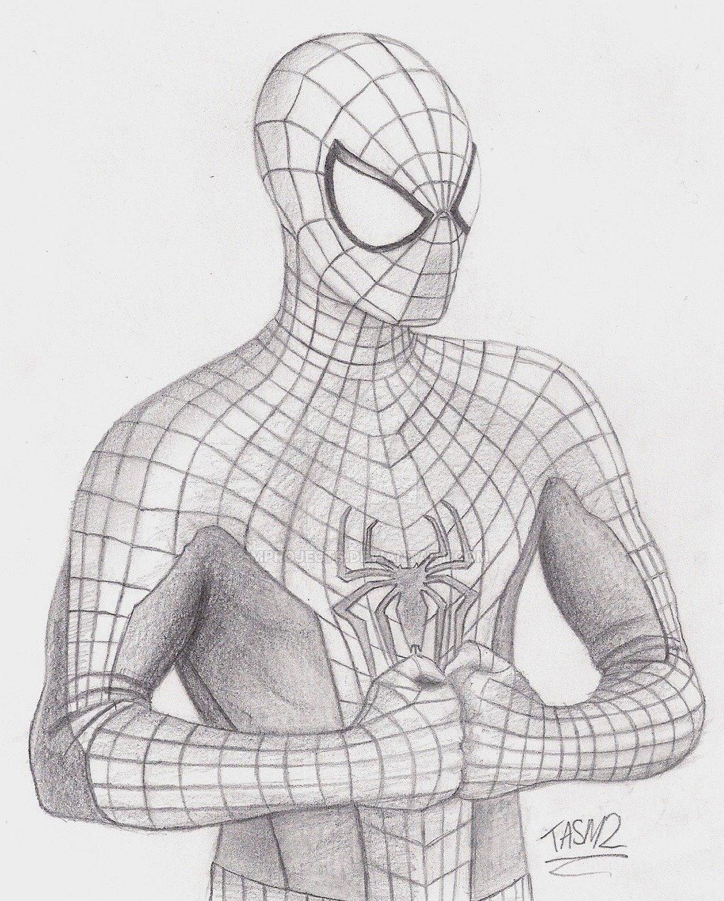 Как нарисовать картинку человека паука, внуком картинках