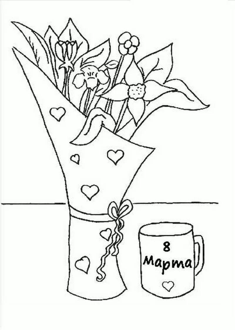 маленького рисунок маме на 8 марта от дочки карандашом старик старухой