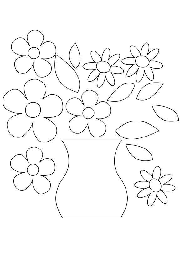 Шаблон открытки цветы в горшках