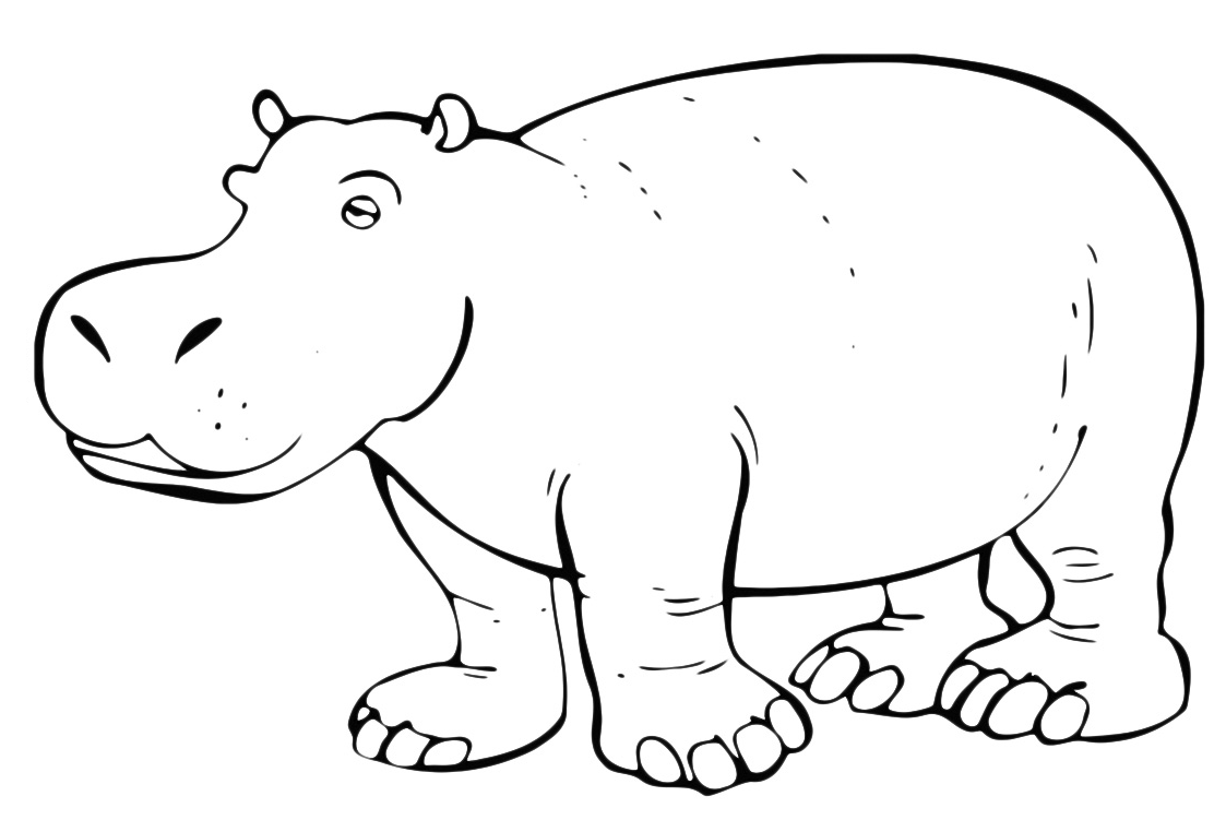 Картинки для раскрашивания бегемот
