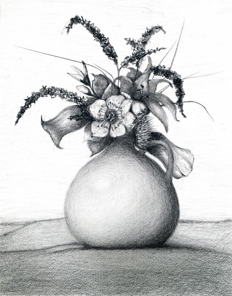 Картинки натюрморт карандашом цветы часть