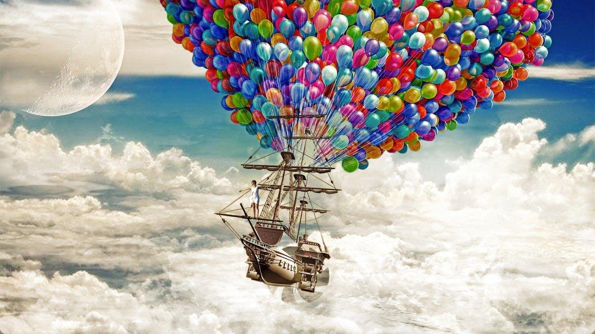 Открытки с днем рождения с воздушными шарами
