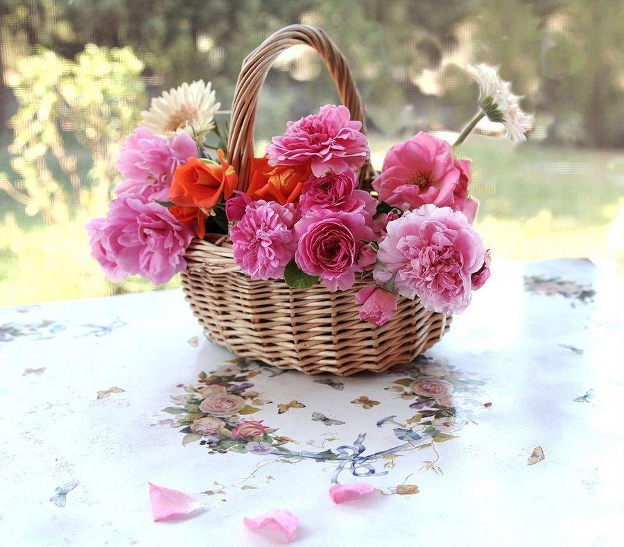 Открытки с цветами в корзине и хорошими длинным